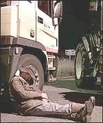 A farmer sleeps during the oil blockade