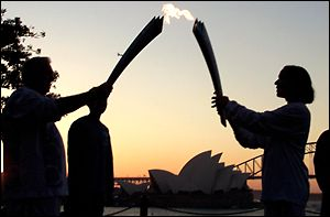 The Olympic torch arrives in Sydney