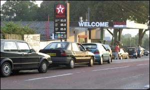 Motorists queuing for fuel