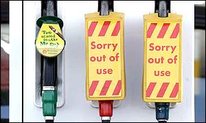 Petrol pumps out of use in England