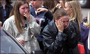 Students outside Columbine High School in Colorado
