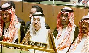 Crown Prince Abdullah (right) and Prince Saud Al Faisal (left) at the UN