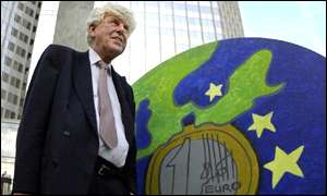 Wim Duisenberg with euro artwork outside ECB headquarters