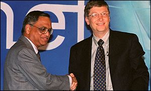 Bill Gates, right, and NR Narayana Murthy