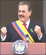 Colombian president Andres Pastrana on inauguration day, August 1998