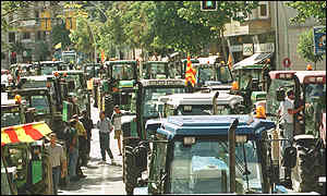 Spanish farmers blocking the streets of Girona in protest at high fuel prices