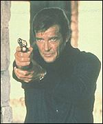 Roger Moore as fictional secret agent James Bond
