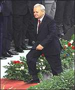 President Milosevic about to address a party rally