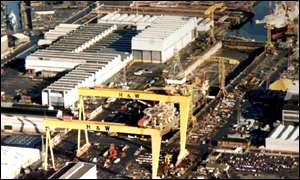 Aeriel view of Belfast shipyard