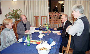 Russian President Vladimir Putin (2nd-R) and his wife Lyudmila (L) and Russian writer Alexander Solzhenitsyn (2nd L) and his wife Natalya (R) at Solzhenitsyn's suburban home,