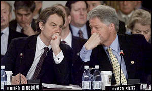 UK Prime Minister Tony Blair and US President Bill Clinton at Nato meeting