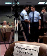 Empty chair in Belgrade court with Bill Clinton's name on