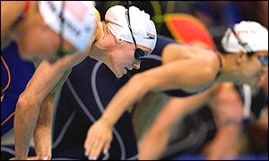 Inge De Bruijn of the Netherlands smashed the world record in the semi-final of the women's 50m freestyle