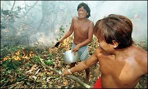 Yanomami Indians fight fire in forest