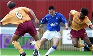 Michael Mols gets the only goal of the game