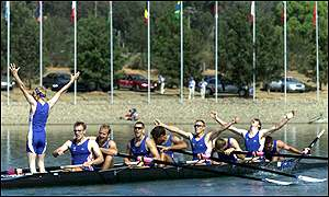 The GB men's eight celebrate winning gold in Sydney