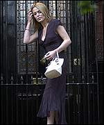Patsy Kensit leaving her London home after the couple announced they were to split