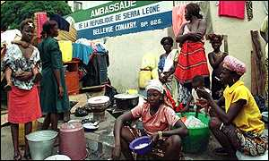 Sierra Leonean refugees in Guinea taking refuge at the embassy