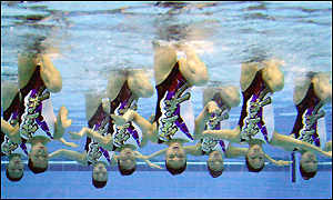The Japanese team perform at the Olympic Aquatic Centre
