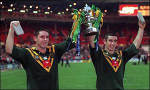 Captain Brad Fittler and Andrew Johns