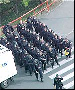Squad of riot police