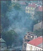 Tear gas and buildings in Prague