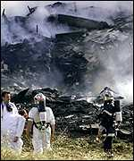 Scene of Concorde crash at Gonese, outside Paris