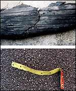 The torn Concorde tyre and the metal strip