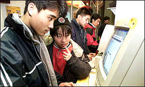 Chinese youths using internet
