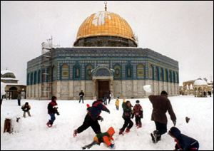 snow on dome of the rock
