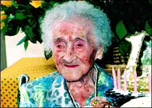 Jeanne calment reached an age of 122 years