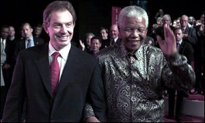 Prime Minister Tony Blair and Nelson Mandela