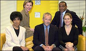 Moira Stewart, Jeremy Bowen and Sophie Raworth (front row) Sarah Montague and Darren Jordan (back row)