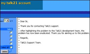 BT Talk21 e-mail account