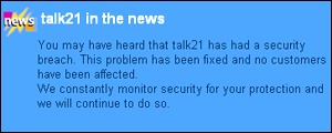 Talk21 website message