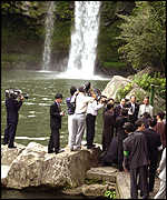 The delegations visited Chonjiyeon falls