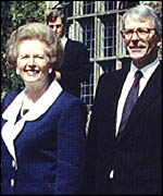 Margaret Thatcher and John Major