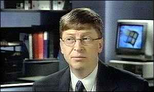 image: [ Bill Gates looks concerned after the lawsuit is announced, but he has little to worry about ]
