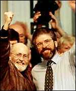 [ image: Mr Adams and Hugh Doherty of the Balcombe Street gang at Sinn Fein's Dublin meeting]