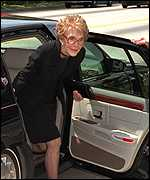 [ image: Nancy Reagan arrives for the funeral]