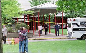 image: [ Outside Thurston High School, hours after the shooting ]