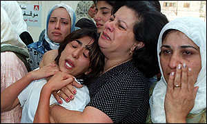 Weeping relatives of dead Palestinian youth