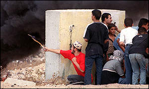 The Palestinians used slingshots to hurl stones
