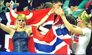 Norwegian supporters cheering their side to the women's football gold.