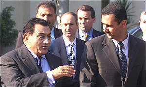 Presidents Mubarak and Bashar al-Assad