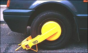 Wheelclamped car