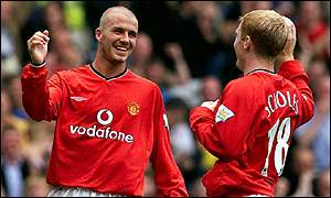 Manchester United players David Beckham (left) and Paul Scholes