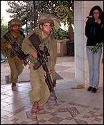Israeli troops enter hotel in Ramallah