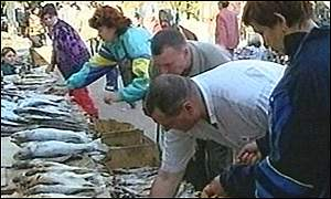 The fish market in Astrakhan, the centre of the caviar industry