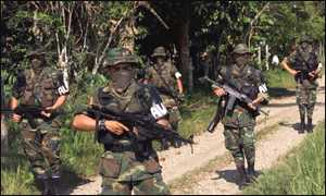 Paramilitaries on patrol in southern province of Putumayo